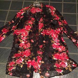 Elena Miro floral sheer button front blouse sz 14
